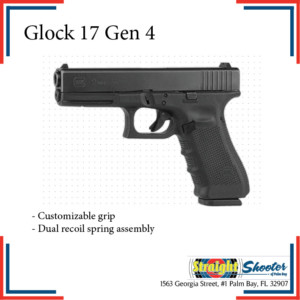 Glock 17 Gen 4 | Customizable grip. Dual recoil spring assembly.